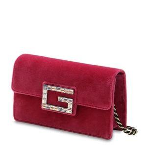 GUCCI Velvet Crystal G Mini Broadway Shoulder Bag